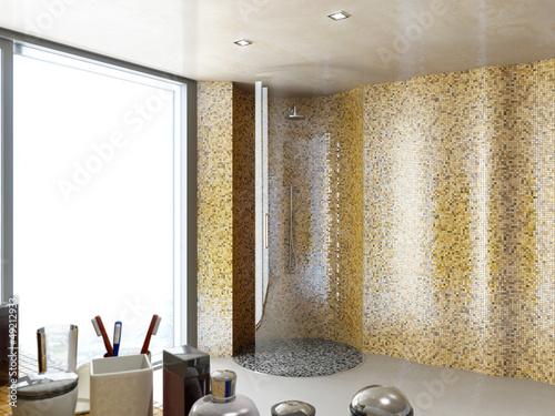 Rund Glas Dusche im Mosaik Badezimmer Stockfotos und lizenzfreie Bilder auf Fotoliacom  Bild