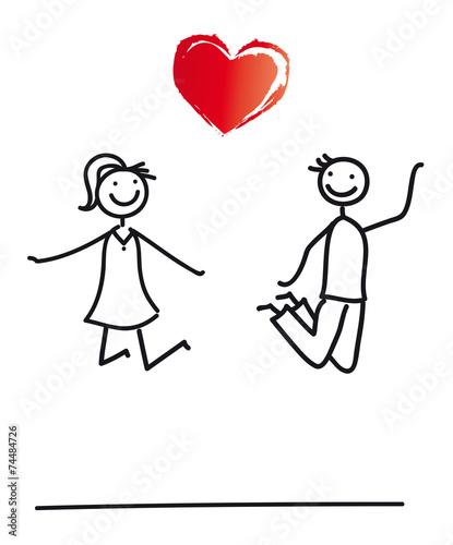 Brautpaar  Paar mit Herz  Luftsprung Stockfotos und