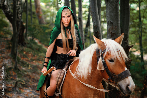 3d 4k Amazon Women Wallpaper Quot Sexy Girl Elf With A Bow On Horseback Quot Stock Photo And