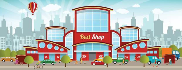 shopping centre mall einkauf ville winkelen stad het clipart stadt vector dans staden commercial center retro achat shoppa farben mieście