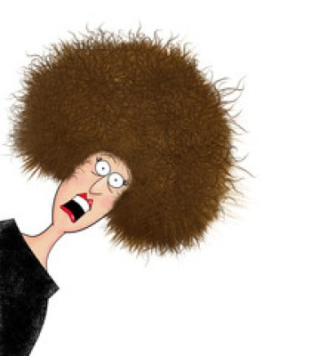 Funny Frazzled Woman With Electrified Hair