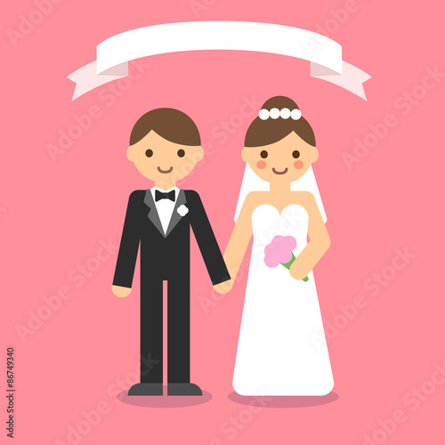 Wedding Couple Cartoon Vector 5