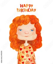 """""""girl with red curly hair. happy"""