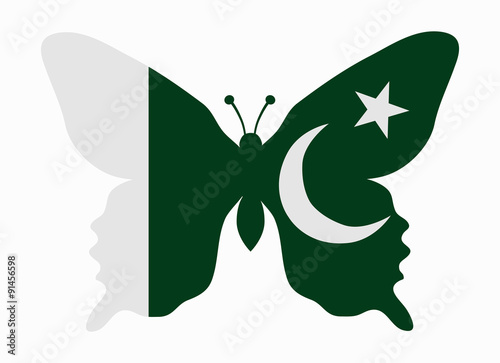 pakistan flag butterfly stock