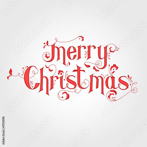 Vintage Christmas Calligraphy Card Merry Christmas