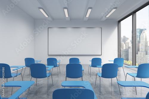 A classroom or presentation room in a modern university