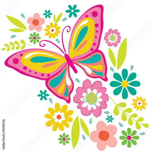 """""""spring flowers and butterfly illustration"""