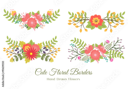 Set Of Cute Doodle Borders With Flowers And Leaves For Decoration Or Cards Wedding Invitation