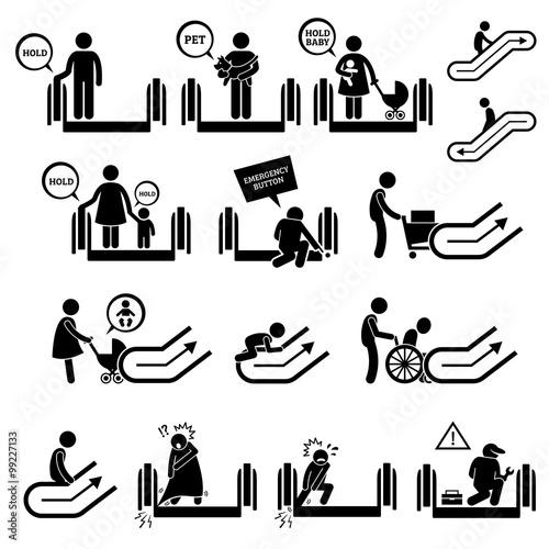 Escalator Warning Signs And Symbols Pictogram Icons