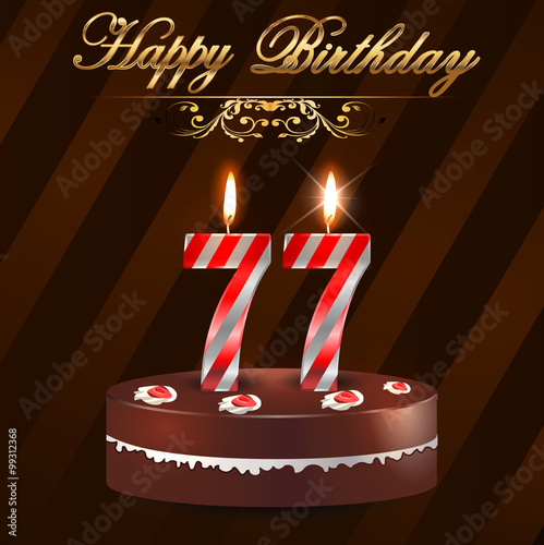 Quot 77 Year Happy Birthday Card With Cake And Candles 77th