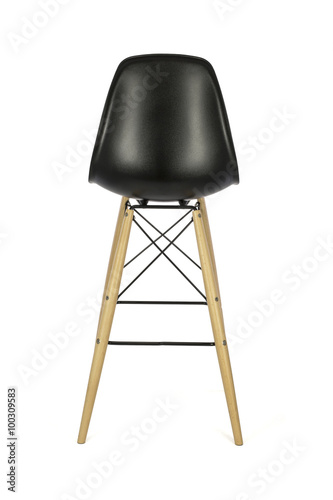 black plastic chair with wooden legs office herman miller bar stool on white background rear view