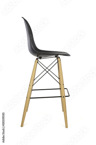 black plastic chair with wooden legs steel bd bar stool on white background side view