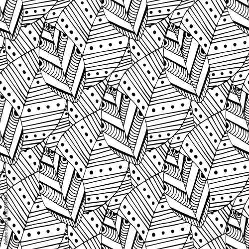Doodle Seamless Pattern With Ethnic Leaves Creative