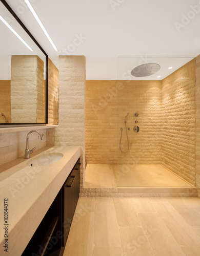 modern architecture new empty apartment bathroom Stockfotos und lizenzfreie Bilder auf