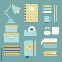 """""""Modern blue and yellow office supplies and stationery ..."""