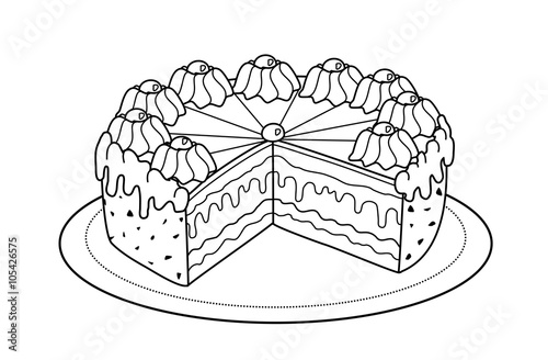 """""""Torte (Malvorlage)"""" Stock photo and royalty-free images"""