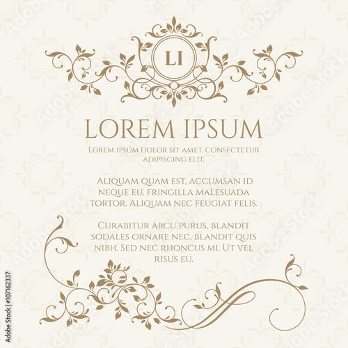 Decorative Vector Monogram And Border Clic Design Elements For Wedding Invitations
