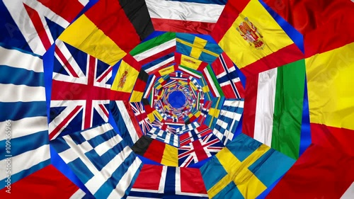 Flags of Europe contries in whirlpool 3d effect England Greece Norway Italy Spain Germany