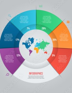 Vector pie chart template for graphs charts diagrams business circle infographic concept with world map also rh fotolia