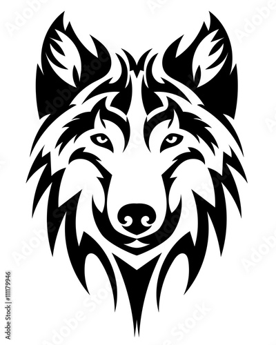 Beautiful Wolf Face Vector Illustration Royalty