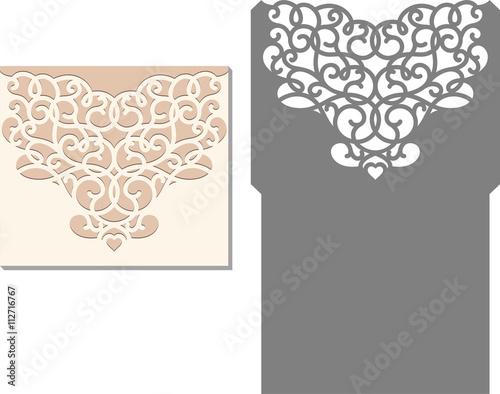 Laser Cut Invitation Card Cutting Pattern For Wedding Envelope