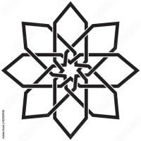 """Circular geometric pattern in arabesque style. Eight ..."