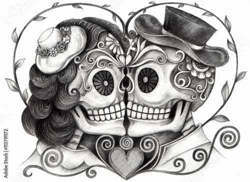 """""""art skull day of the dead.art design skull wedding in"""