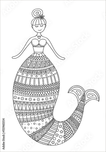 Cute Doodle Mermaid Vector Hand Drawn Mermaid With