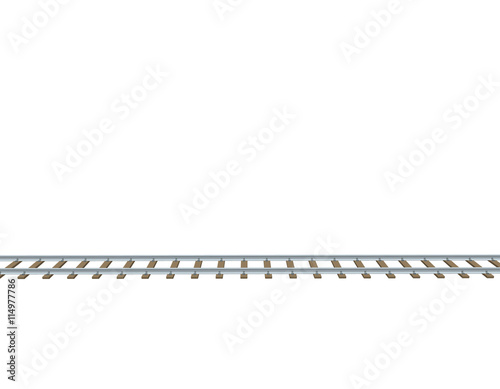 quotRailway track 3d Vector illustrationSide viewquot Stock