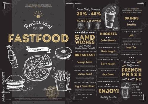 Restaurant fast food cafe menu template flyer vintage