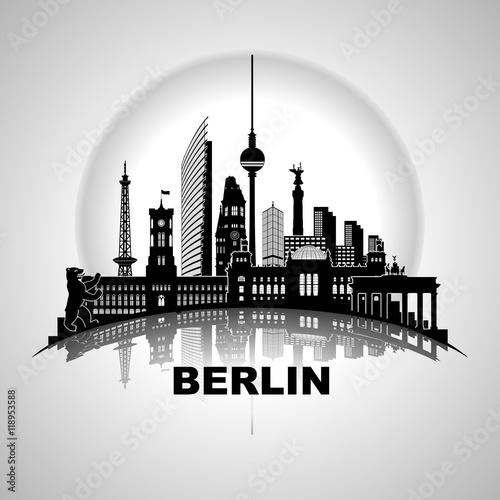 """Berlin Stadtansicht Wandtatoo Panorama mit"