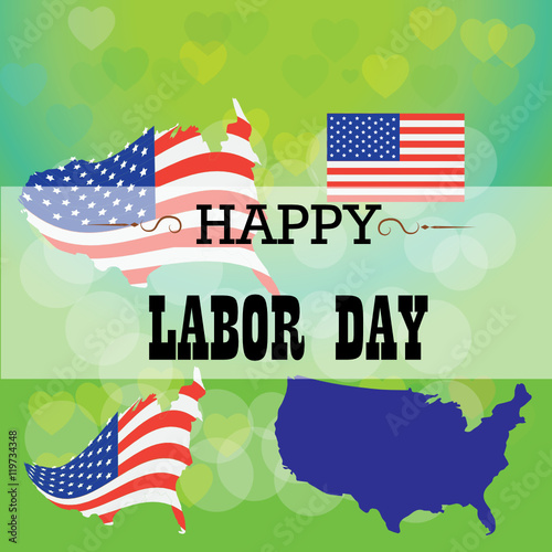 quotPatriotic Labor Day Banner with American Flagquot Imágenes