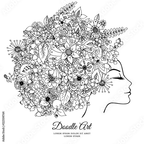 Fabulous Vector Illustration Zentangl Girl With Flowers In Her Hair Auto Wiring Cloud Hisonuggs Outletorg