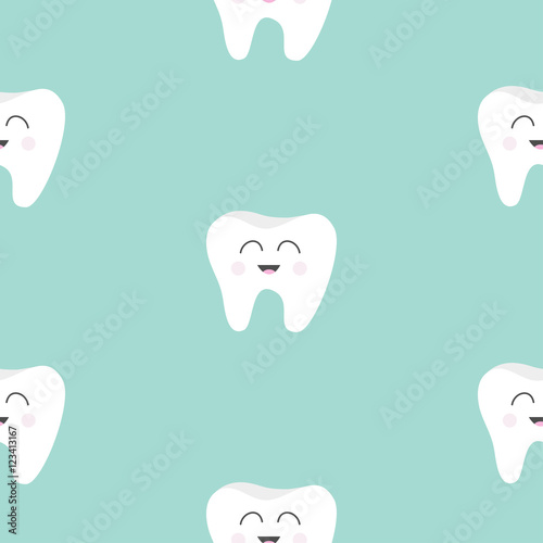 quotSeamless Pattern Tooth health Cute funny cartoon smiling