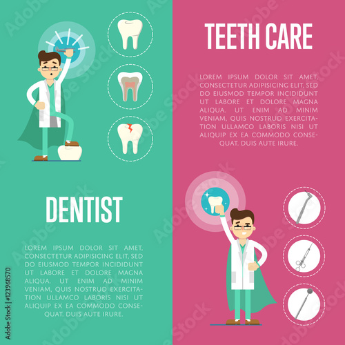 Dental Care Vertical Banners With Male Dentist In Medical Uniform