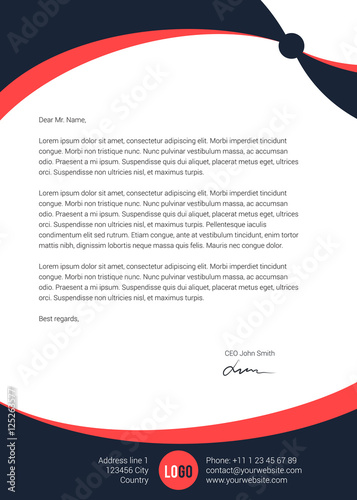 Modern clean simple letterhead design Stock image and