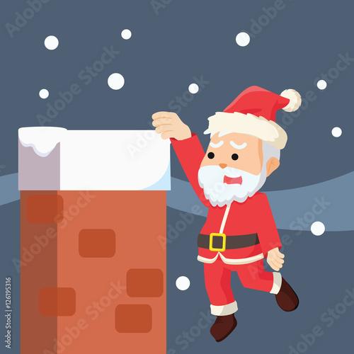 """santa hanging in chimney"" Stock image and royalty"