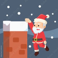"""santa hanging in chimney"" Stock image and royalty"