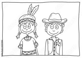 Ausmalbild Indianerzelt   Cartoon Bild