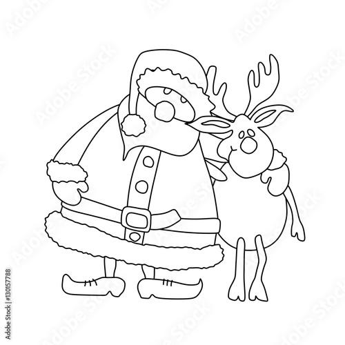 """""""Weihnachtsmann mit Elch zum Ausmalen Umriss - Malvorlage"""