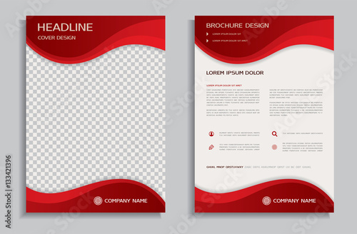 """Flyer Design Template Brochure With Red Wavy Background"