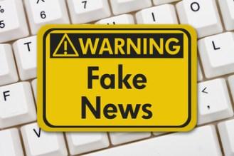 Fake news warning sign