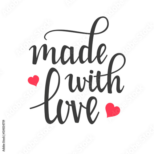 """Download """"Made with Love Hand Lettering Calligraphy"""" Stock image ..."""
