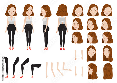 Woman Character Creation Set Icons With Different Types