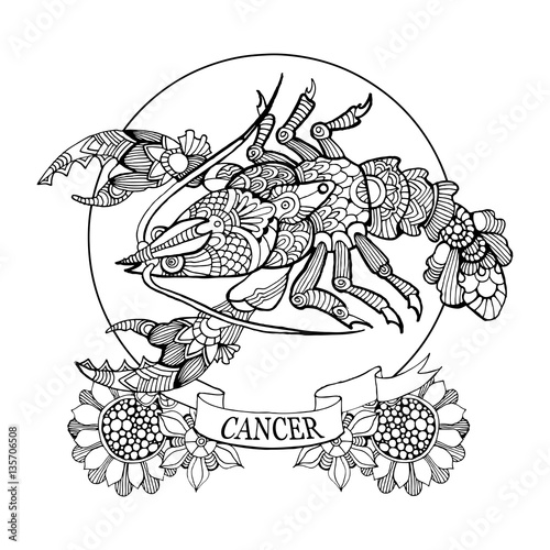Cancer Coloring Pages Zodiac Sign Adult