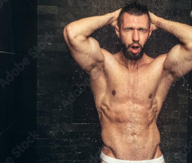 Handsome Naked Man Taking Shower Muscular Man Showering After Workout