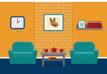 cartoon room living background wall interior vector lounge flat brick illustration furniture chair scene yellow couch inside fotolia pic chairs