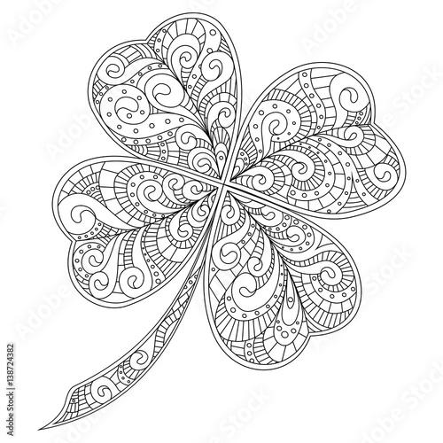 Four Leaf Clover Decorated With Hand Drawn Patterns
