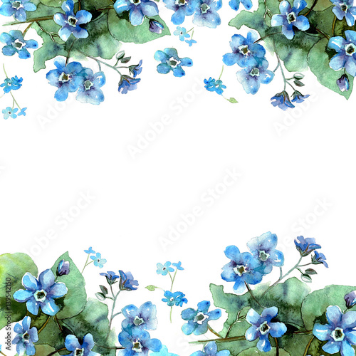 Cute watercolor flower border Background with blue