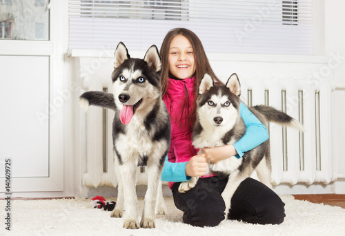Child And Husky In The Apartment